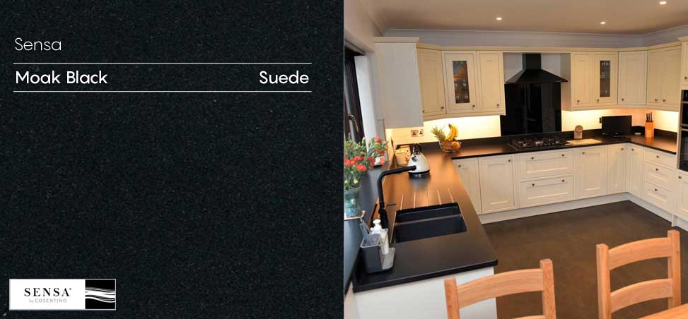 Cosentino Sensa Moack Black suede natural granite available at Counter Interiors, York
